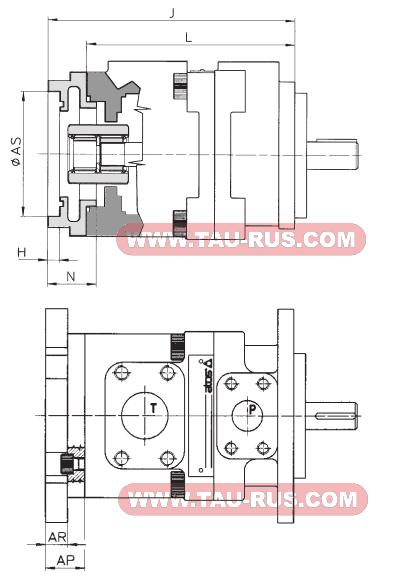 Размеры пластинчатых насосов нерегулируемых ATOS PFEXA-31 PFEXA-41 PFEXB-41 PFEXA-51 PFEXB-51 PFEXC-51