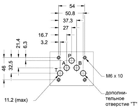 Монтажная поверхность (установочные размеры) гидрораспределителей DS5-SA 2/10N-A110, DS5-TB/10N-D24, DS5-S7(S8)/10N-A110 и др.