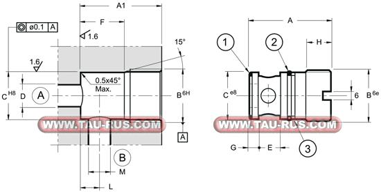 Размеры клапана обратного VR2-I*, VR5-I*, VR7-I*