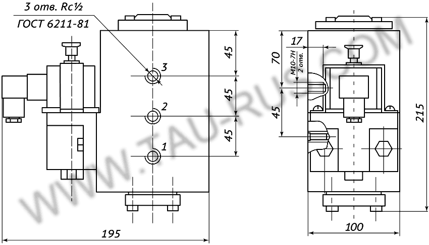 Пневмораспределитель РЭП1-1.16.Д24 (А110, А220) (чертёж)