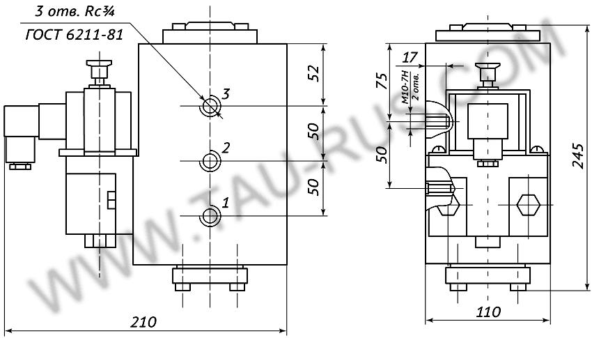 Пневмораспределитель РЭП1-1.20.Д24 (А110, А220) (чертёж)