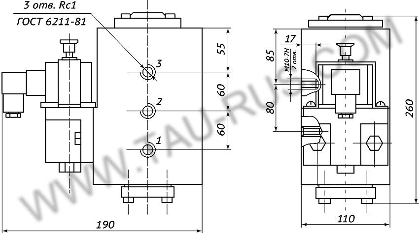 Пневмораспределитель РЭП1-1.25.Д24 (А110, А220) (чертёж)
