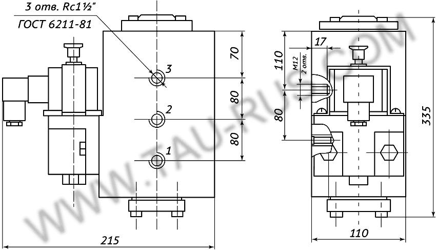 Пневмораспределитель РЭП1-1.40.Д24 (А110, А220) (чертёж)