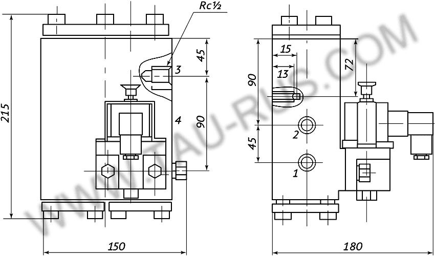 Пневмораспределитель РЭП2-1.16.Д24 (А110, А220) (чертёж)