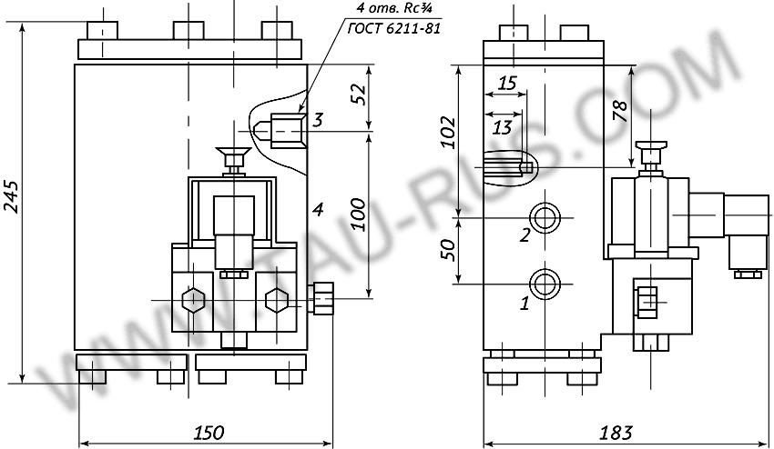 Пневмораспределитель РЭП2-1.20.Д24 (А110, А220) (чертёж)