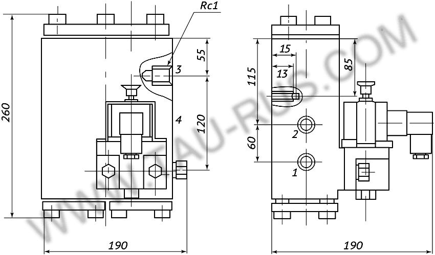 Пневмораспределитель РЭП2-1.25.Д24 (А110, А220) (чертёж)