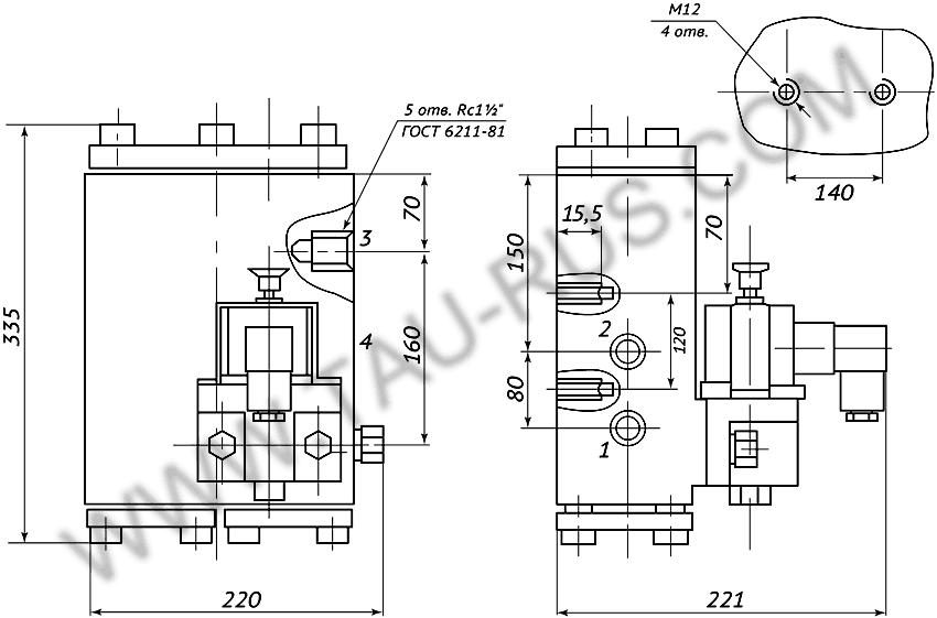 Пневмораспределитель РЭП2-1.40.Д24 (А110, А220) (чертёж)
