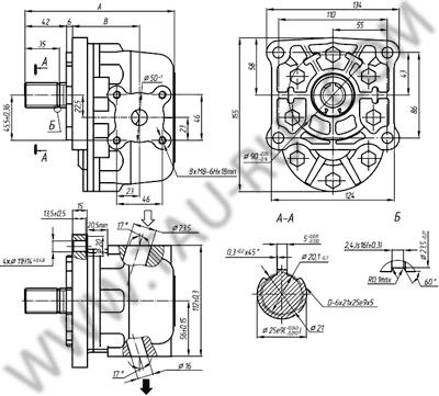 Установочные размеры насосов НШ32УКФ-3 и НШ32УКФ-3Л